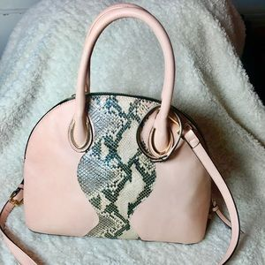 Pale nude-pink and snakeskin Purse/ crossbody  bag